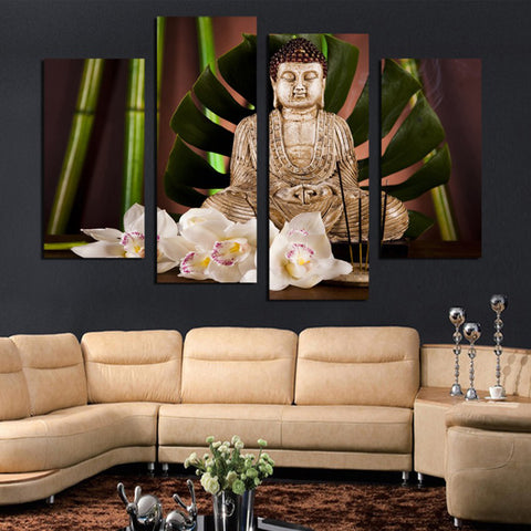 Bamboo Buddha - 4 Piece Canvas Wall Art