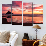 Beach Sunset Glow Seascape - 4 Piece Canvas Wall Art
