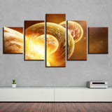 Abstract Universe Planet Mars - 5 Piece Canvas Wall Art