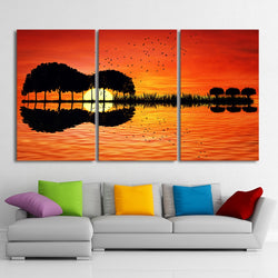 Guitar Trees Lake Sunset - 3 Piece Canvas Wall Art