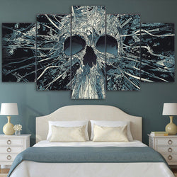 Scary Skull Mask Skeleton King Abstract - 5 Piece Canvas Wall Art