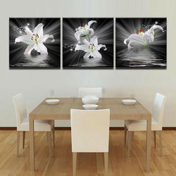 White Lily Flower - 3 Piece Canvas Wall Art