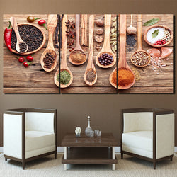 Spoon Grains Spices - 3 Piece Canvas Wall Art