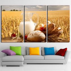 Wheat Field and Bread - 3 Piece Canvas Wall Art