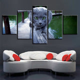 Animal Cute Cat Scenery - 5 Piece Canvas Wall Art