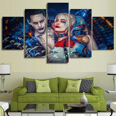 Suicide Squad Harley Quinn Joker 5 Piece Canvas Wall Art Itdayshop