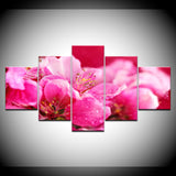 Pink Flowers - 5 Piece Canvas Wall Art
