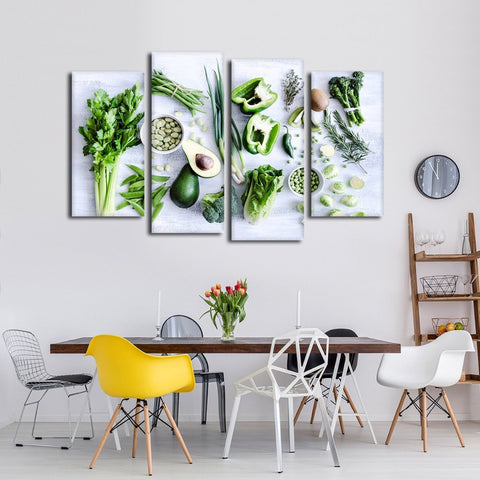 Healthy Greens Vegetables - 4 Piece Canvas Wall Art