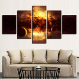 Abstract Pieces Universe Space Planet - 5 Piece Canvas Wall Art