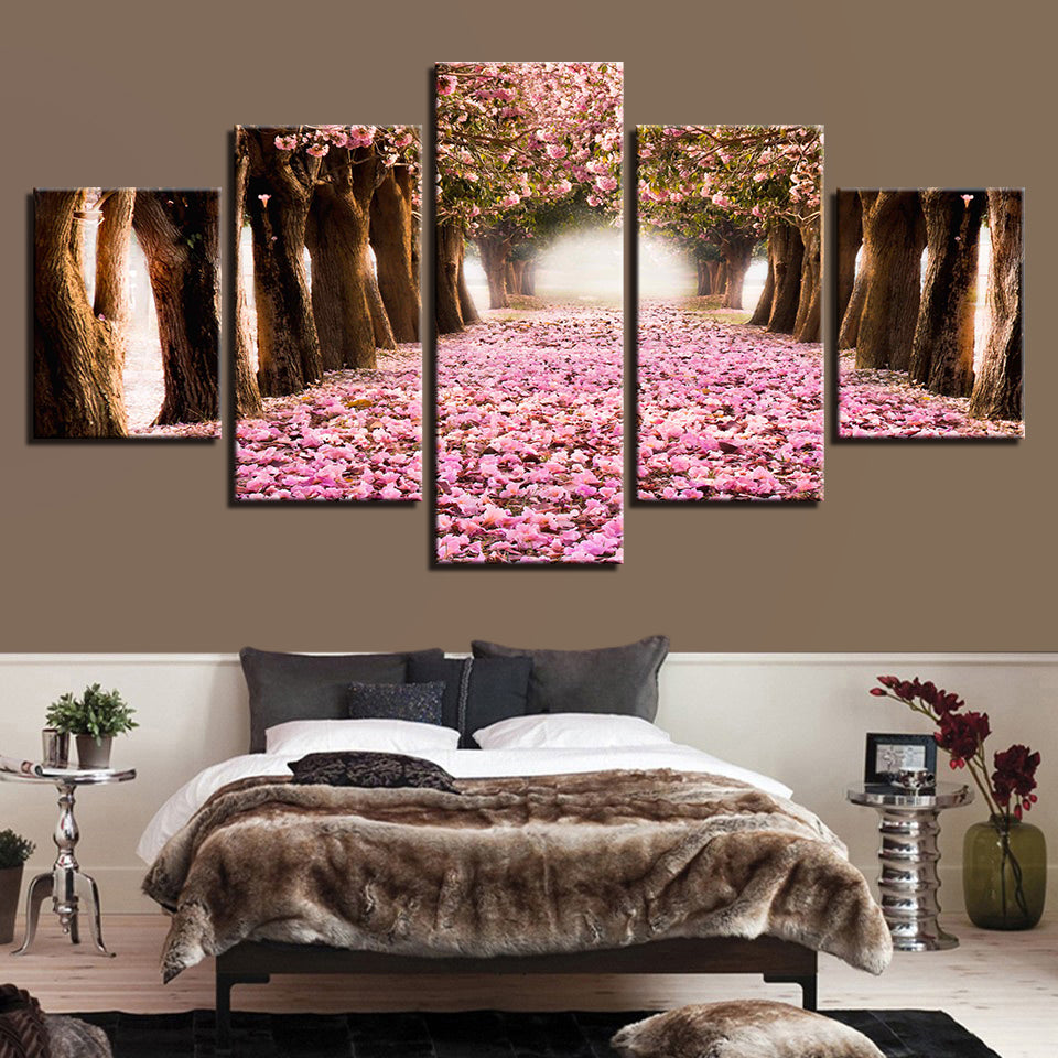 Cherry Blossoms Forest Path Flowers Trees Nature 5 Piece