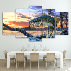 Jumping Bass Fishing - 5 Piece Canvas Wall Art