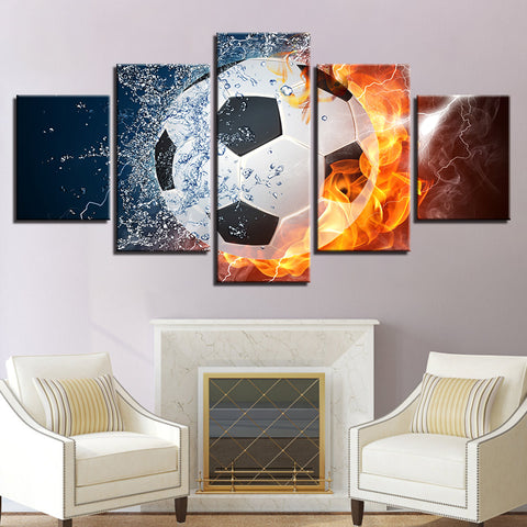Hot Socer Football Water And Flame - 5 Piece Canvas Wall Art