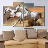 White Horses Running - 4 Piece Canvas Wall Art
