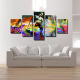 Abstract Colorful Butterfly Flowers - 5 Piece Canvas Wall Art