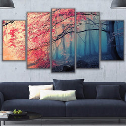 Red Tree Forest Cherry Blossoms Scenery - 5 Piece Canvas Wall Art