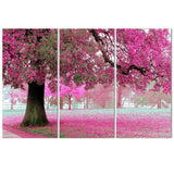 Beautiful Pink Tree - 3 Piece Canvas Wall Art