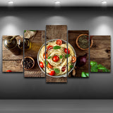 Italian Cuisine Pasta Olive Oil Garlic Canvass Kitchen - 5 Piece Canvas Wall Art