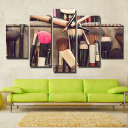 Makeup Brush - 5 Piece Canvas Wall Art