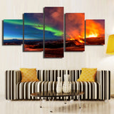 Red Lame Green Sky - 5 Piece Canvas Wall Art
