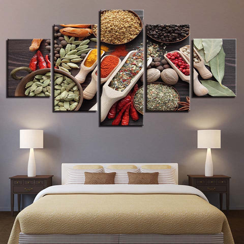 Spoon Grains Spices Food Kitchen Cooking - 5 Piece Canvas Wall Art
