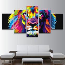 Colorful Lion - 5 Piece Canvas Wall Art