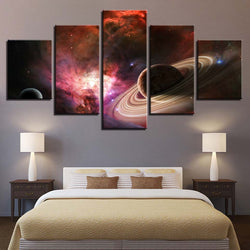 Space Galaxy Saturn Planet - 5 Piece Canvas Wall Art