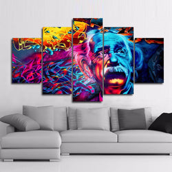 Color Abstract Albert Einstein - 5 Piece Canvas Wall Art