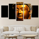 Gold Buddha - 5 Piece Canvas Wall Art