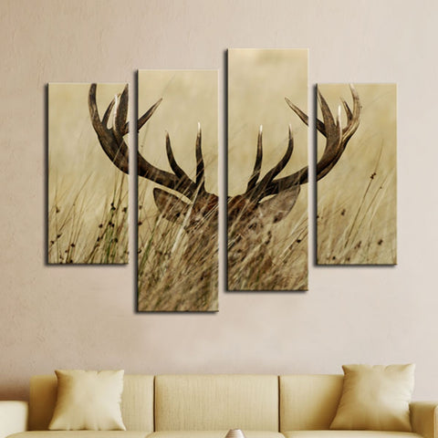 Stag With Long Antler In The Bushes - 4 Piece Canvas Wall Art