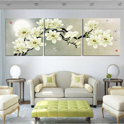 Magnolia Flowers - 3 Piece Canvas Wall Art