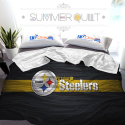 NFL Steelers Football Team Logo Custom Printed Summer Quilt Blanket