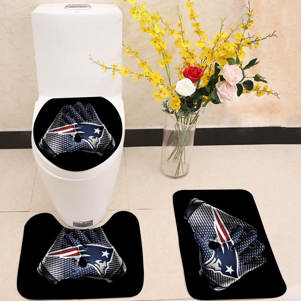 Nfl New England Patriots Gloves Toilet Rug Lid Cover 3