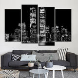Black And White Building Landscape - 4 Piece Canvas Wall Art Duplicate