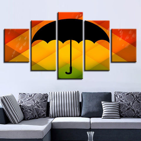 Color Background Black Umbrella And Rain Water - 5 Piece Canvas Wall ...