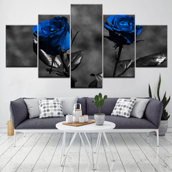 Blue Roses Flowers - 5 Piece Canvas Wall Art