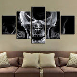 Abstract Skull Black White - 5 Piece Canvas Wall Art