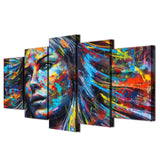 Colorful Hair Figure Woman Face Tableau Artistic - 5 Piece Canvas Wall Art