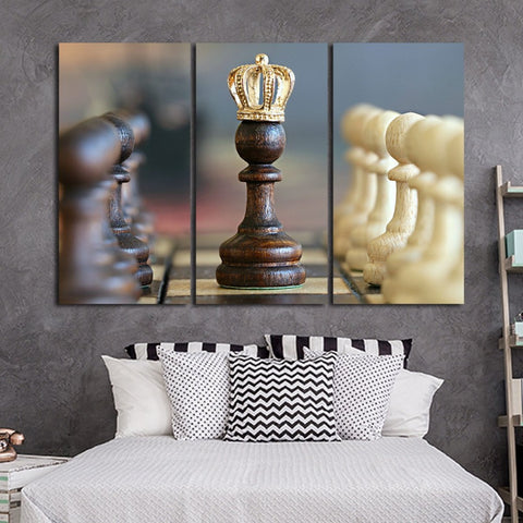 Chess Board - 3 Piece Canvas Wall Art