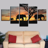 Elephant Family Under Sunset - 5 Piece Canvas Wall Art
