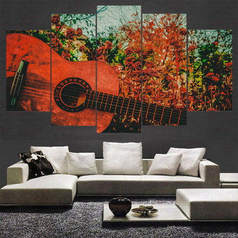 Pretty Abstract Guitar Music - 5 Piece Canvas Wall Art