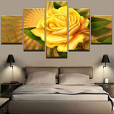 Yellow Flowers - 5 Piece Canvas Wall Art