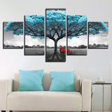 Blue Big Tree Red Chair Scenery - 5 Piece Canvas Wall Art