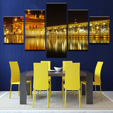 Beautiful Golden Temple At Midnight - 5 Piece Canvas Wall Art