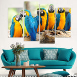 Parrots On Branches - 4 Piece Canvas Wall Art
