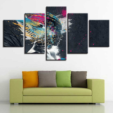 Abstract Woman Graffiti - 5 Piece Canvas Wall Art