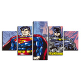 Comic Superman Batman - 5 Piece Canvas Wall Art