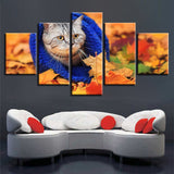 Animal Cat Leaves Fall - 5 Piece Canvas Wall Art