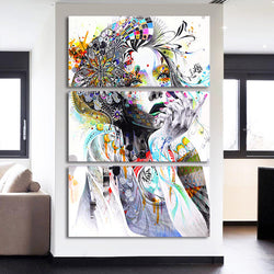 Color Woman Flower Hair - 3 Piece Canvas Wall Art