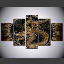 Traditional Chinese Gorgeous Dragon Totem - 5 Piece Canvas Wall Art
