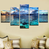 Blue Sky White Clouds Seascape - 5 Piece Canvas Wall Art